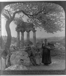 Where almond trees bloom beside the ruined temple of Castor and Pollux, N.W. Girgenti, Sicily